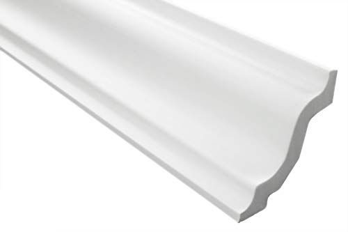Zierleisten Sparpaket E-8   leicht und stabil   extrudiertes Styropor   Stuckprofile   Decken-/ und Wandübergang   modern weiß   dekorativ   XPS   72 x 72 mm   30 Meter