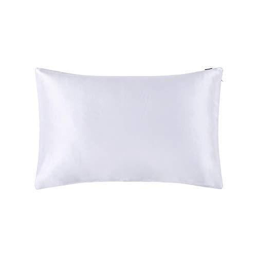 LilySilk Taie d'oreiller en Soie Housse de Coissin Protège Oreiller Doux Prend Soin de Votre Peau Antichute de Cheveux Anti-acariens Hypoallergénique 40x60cm Blanc