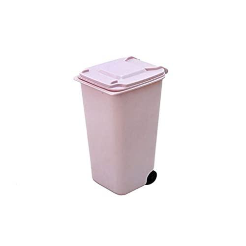 Cubo de Basura Casa Sala de Estar Interior Basura Interior Lindo Escritorio Mini Escritorio Creativo Mini Rueda Inferior Basura Interior Mesa de Mesa Papelera (Color : Pink)