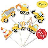 35-Pack Construction Cupcake Toppers Picks, Dump Truck Excavator Tractor Party Cake Topper...