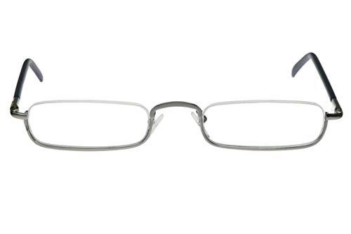 Gafas de lectura con marco de color azul, cromo, plateado, cuadrado, estrechas, planas, sin marco, para hombre y mujer