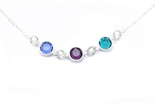 Birthstone Necklace - ROI - Sterling Silver Swarovski Charm Personalized Mom Gift