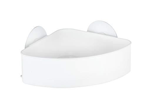 WENKO 21825100 Static-Loc Eckablage Osimo Weiß, Befestigen ohne bohren, Polypropylen, 24 x 9.5 x 17.5 cm, Weiß