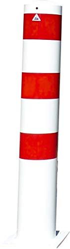 Schake Stahlrohrpoller OD Ø 152 mm weiß | rot - 1,00 m - Pfosten ortsfest - für Dübelbefestigung