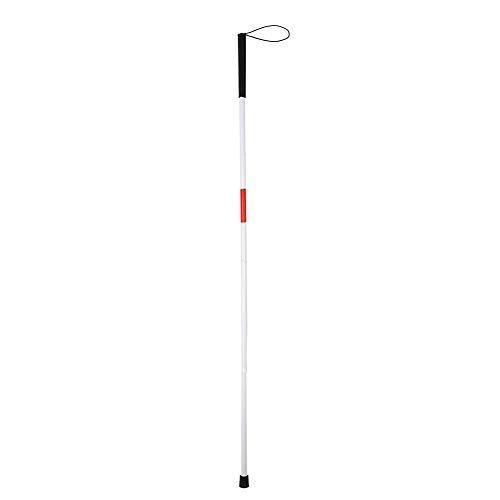 Bastón plegable para ciegos, bastón blanco de marcha, bastón ciega con mango antideslizante, bastón blanco reflectante para ciegos y personas con discapacidad visual, longitud aprox. 124 cm