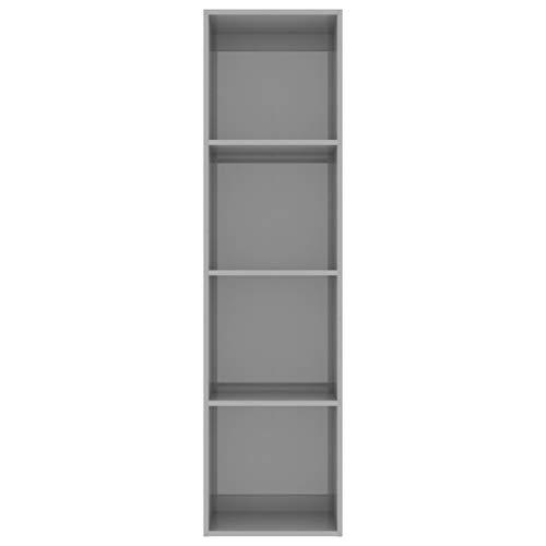 Lechnical Armario de Libros, Estantería Estantería Unidad de Almacenamiento Mueble Estantería Estantería, CD DVD Muebles Torre, 40x30x151.5 cm, 4 Niveles, Gris Brillante