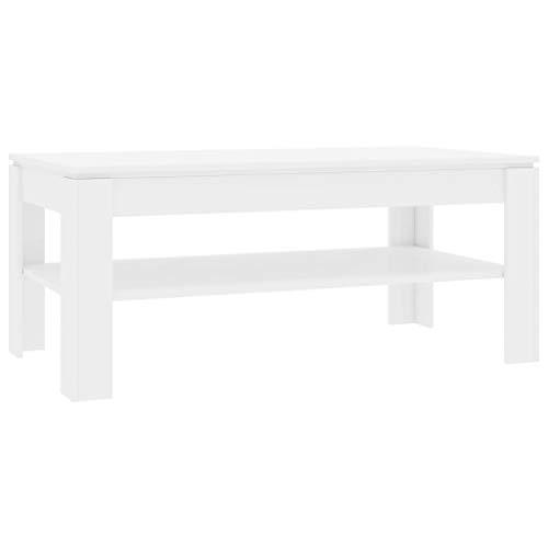 VidaXL Salontafel met 1 plank, woonkamertafel, bijzettafel, koffietafel, theetafel, telefoontafel, hoogglans-wit, 110 x 60 x 47 cm, spaanplaat
