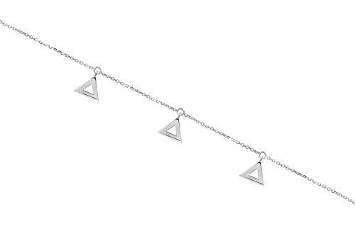 Pulsera con triángulos pequeños, Pulsera de oro 9K 14K 18K, Oro blanco, Triángulos múltiples, Pulsera geométrica de oro macizo, Regalo diario para ella/code: 0.002