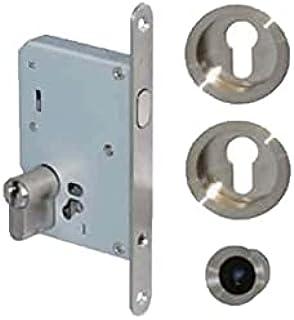 Kit pour porte à galandage - poignées rondes - clé I - inox