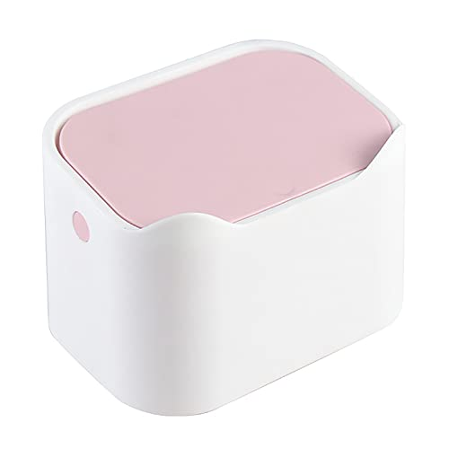 Cubo de basura para escritorio,mini cubo de basura de mesa portátil con tapa tipo prensa,cubo de basura de escritorio,soporte para caja de pañuelos para el hogar,oficina,cocina,dormitorio,baño White