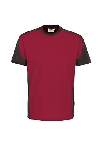 HAKRO T-Shirt Contrast Performance, weinrot/anthrazit, 6XL