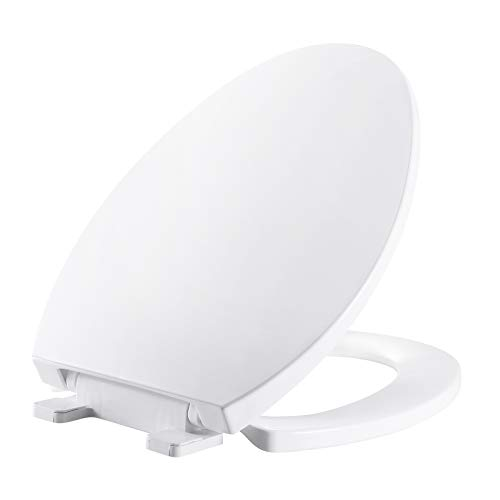 MUYE Elongated Slow-Close White Toilet Seat Never Loosen Removable Toilet Seats No Slamming Easy Installation & Clean