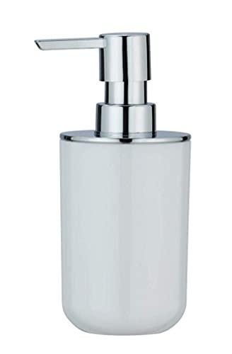 WENKO Dosatoredisapone Posa Bianco/cromo - Dispenser sapone liquido, dispenser detersivo piatti Capacità: 0.33 l, Plastica, 7 x 16.5 x 8 cm, Bianco