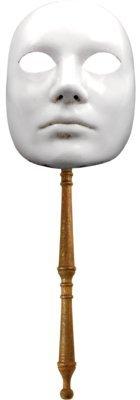 Karneval - Halloween - venezianische Maske - Stabmaske - Volto bianco con bastone
