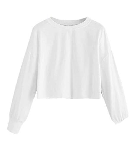 H&E - Sudadera Corta de Manga Larga para Mujer Blanco Blanco M