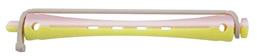 Comair 3012013 kaltwell Lot de 12 bigoudis bicolore 8 mm de long rond caoutchouc Longueur 91 mm, jaune/rose