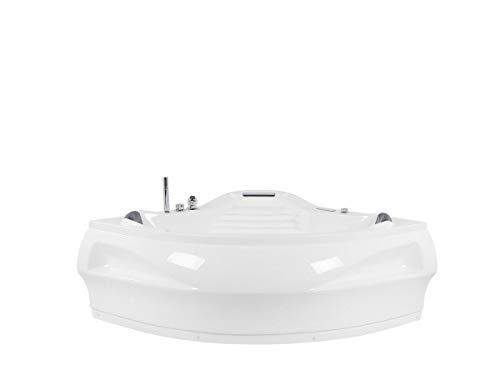 Whirlpool Badewanne St. Tropez mit 14 Massage Düsen + Heizung + Ozon Desinfektion + LED Unterwasser Beleuchtung / Licht + Wasserfall + Radio – Sprudelbad Hot Tub indoor / innen günstig - 4