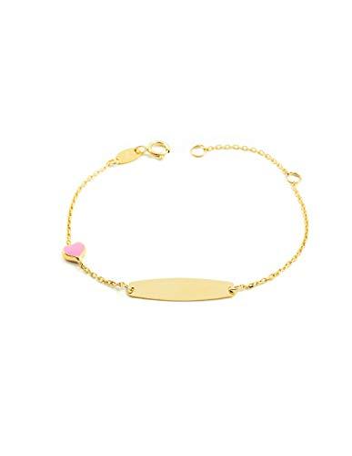 Esclava Bebe Oro Amarillo corazon rosa esmalte (9kts)