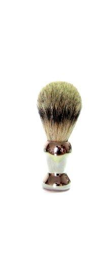 Golddachs - Brocha de afeitar de pelo de tejón (1 unidad, mango de plástico galvanizado), color plateado