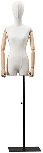ZSY Maniquíes de Costura Código de Vestimenta de la Cabeza del Busto del Cuerpo con Las Manos de la Madera Maciza y el Soporte de Metal para la exhibición de la joyería de la Ropa (Color : White)