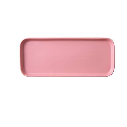 Platos Placa nórdica rectángulo Placa de Tira cerámica Placa Dim Suma Placa de Alimentos Occidentales refrigerio Creativo bocado japonés Rojo Sushi Plato Largo Platos de Cena (Color : A)