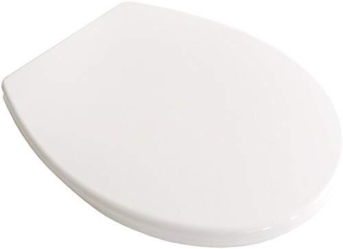 ADOB WC Sitz Klobrille Toilettendeckel weiss mit Absenkautomatik, zur Reinigung auf Knopfdruck abnehmbar, Montage von oben oder unten, passend auf alle Standard WCs, 61102