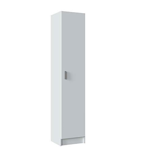 Dmora Armadio Multiuso con un'anta Battente con Tre Ripiani Regolabili in Altezza, Colore Bianco, cm 37 x 37 x h180