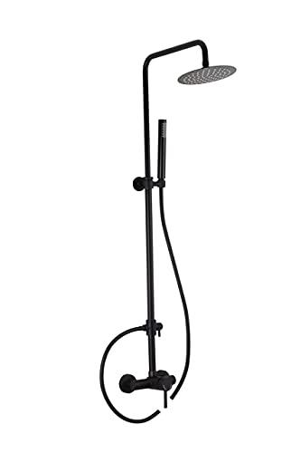 VALAZ Barra de ducha negra redonda monomando con rociador de 25cm Serie Ebro