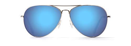 Maui Jim Mavericks Aviator Sunglasses, Silver/Blue Hawaii Polarized, Medium
