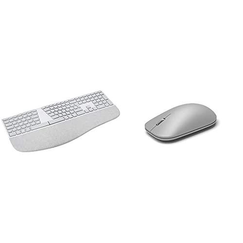 Microsoft Surface Ergonomic Bluetooth Keyboard & Surface Bluetooth Mouse - Grey
