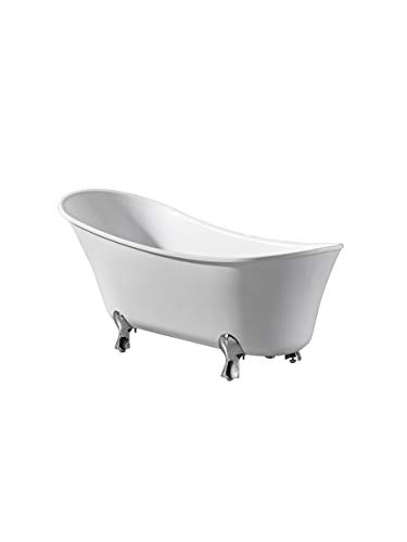 Ove Decors Houston 69 in. Freestanding Bathtub in Pure Glossy White with Chrome Pop Up Drain and Waste Overflow