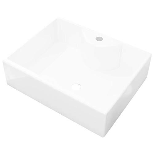 vidaXL Waschbecken Keramik Hahnloch Quadratisch Aufsatzwaschbecken Waschtisch