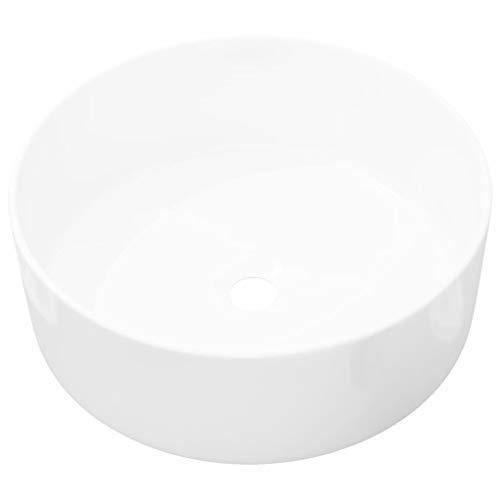 vidaXL Waschbecken Rund Keramik Weiß 40x15cm Waschschale Aufsatzwaschbecken