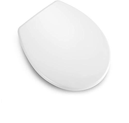 WC Sitz Oval, Dalmo O Form Toilettensitz mit Absenkautomatik und Quick Release-Funktion, Toilettendeckel aus Antibakterielle Duroplast und Rostfreie Edelstahl, Einfache Montage, weiß