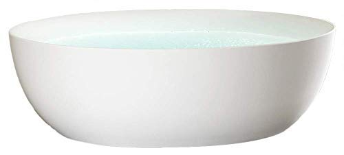 Freistehende Badewanne TERRA Acryl Weiß matt - 186 x 88 x 60 cm - Standarmatur wählbar, Standarmatur:Ohne Standarmatur, Siphon:Ohne Siphon