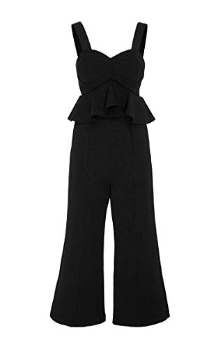 Self Portrait Women's Black Peplum Crepe Jumpsuit 6
