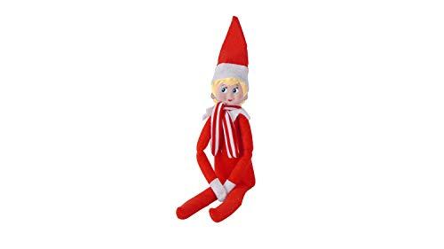 MILMUMU 12' Bendable Poseable Elf with Vinyl Head - Christmas Accessory (Red Girl Elf)