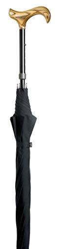 Gehstock, inkl. Schirm (100 cm Durchmesser, Schwarz), höhenverstellbar