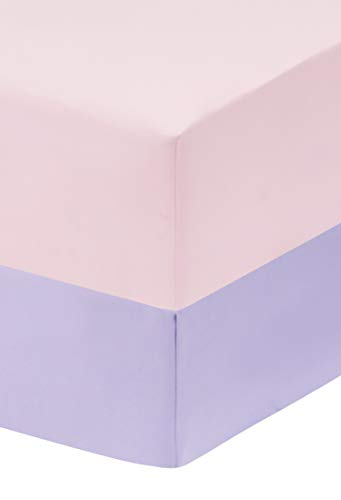 EVERYDAY KIDS 2-Pack Fitted Crib Sheets, 100% Soft Microfiber, Breathable and Hypoallergenic Baby Sheet, Fits Standard Size Crib Mattress 28in x 52in, Lavender Nursery Sheet and Pink Nursery Sheet