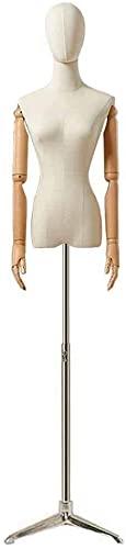 SDHENAILIAN Maniquí Confección Media Longitud Femenina - Pantalla De Vestido De Damas con Cabeza Desmontable, Arma Flexible Y Soporte De Metal (Color : Tripod Base)