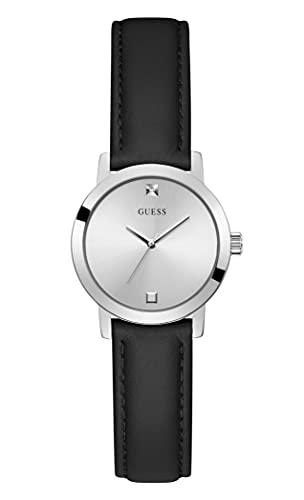 GUESS Women's Stainless Steel Quartz Watch with Leather Strap, Black, 12 (Model: GW0246L2)