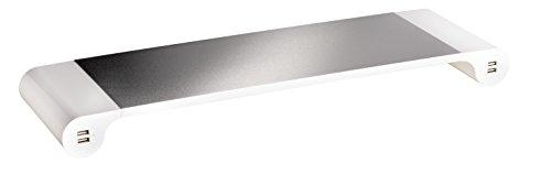 Unilux Study Support Réhausseur d'écran Ergonomique avec 4 Ports USB 55,3 x 16,8 x 5 cm Gris métal/Blanc