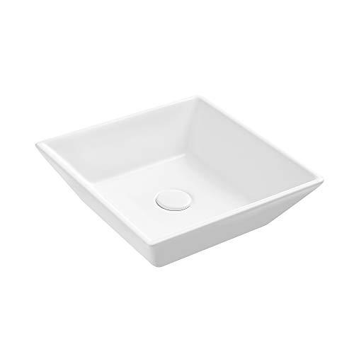 Eridanus Keramik Waschbecken, Aufsatz Waschbecken mit Weißem Ablaufgarnitur aus Keramik, Weiße Aufsatz-Waschschale Waschtisch eckig, 42 x 42 x 12 cm