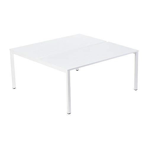 gaerner 2er-Teamschreibtisch mit 60 mm Kabelführung zwischen den Tischplatten | BxTxH = 1200 x 600/1260 x 750 mm | weiß Bürotisch