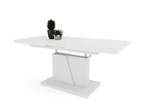 Moderner Couchtisch Grand 120x70x60-67cm Kaffetisch Tisch höhenverstellbar ausklappbar (Weiß)