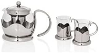 Sabichi Glass Teapot & 2 piece mug set! The Perfect cup of Tea Made Easy!