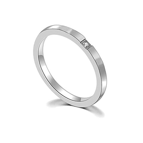 LYLY Anillo de acero inoxidable de circonio de color oro rosa para mujeres y hombres, anillo de compromiso de boda (color de piedra principal: plata, tamaño del anillo: B)