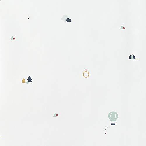 Kenay Home Trip Wallpaper Papel Pintado Infantil, Madera, Blanco, 0,53x10m(AnchoxLargo)