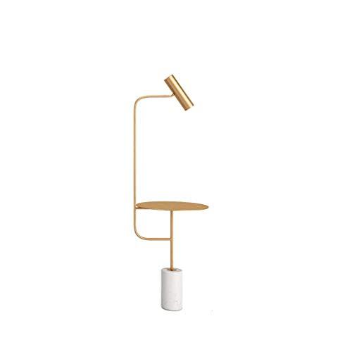 Nordic Bedside vloerlamp, woonkamer eenvoudige ijzeren plank verticale koffietafellamp met marmeren sokkel M20-02-07