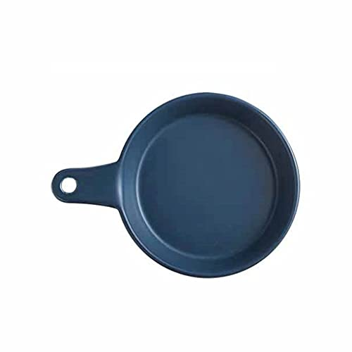 Aiglen Bandeja de horno de cerámica con mango nórdico para hornear, a rayas, para ensalada, postre o cocina, cocina, para el hogar, queso, fruta, color azul